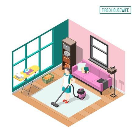 Tired housewife isometric composition with woman in home interior busy with daily duties  vector illustration