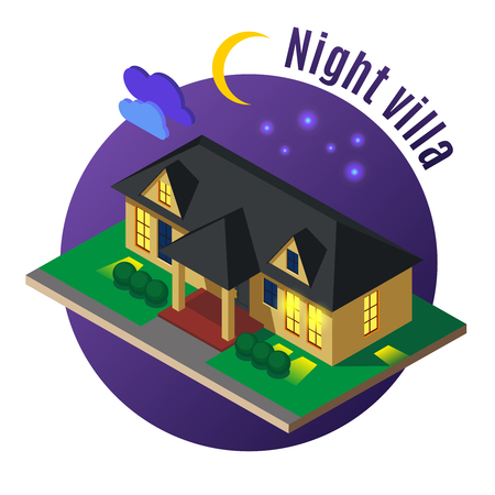 Residential villa with luminous windows and black roof at night on dark background isometric vector illustration
