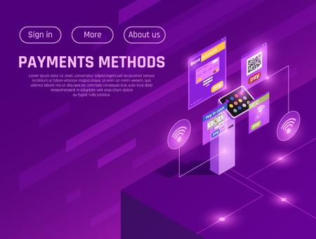 Pagina web isometrica di denaro contante e metodi di pagamento elettronico con pulsanti di menu su sfondo viola illustrazione vettoriale