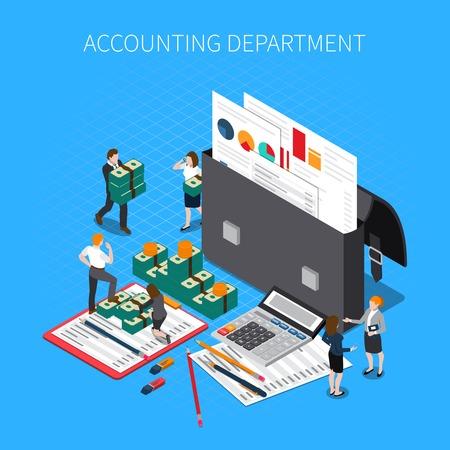 Composizione isometrica reparto contabilità con documenti finanziari cartelle rapporti dichiarazioni calcolatrice fiscale contanti banconote personale illustrazione vettoriale