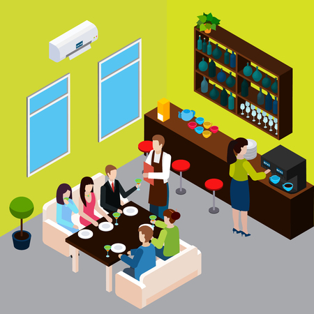 Restaurant isometric composition waiter with menu and customers on sofas barista during making coffee vector illustration