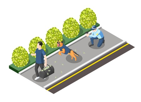 Gangs and police isometric composition with policeman with gun and dog going for robber vector illustration
