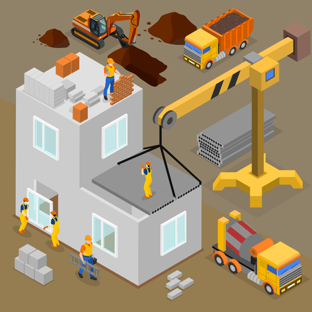 Construction isometric composition with human characters of laborers and builders during building process operated by machines vector illustration