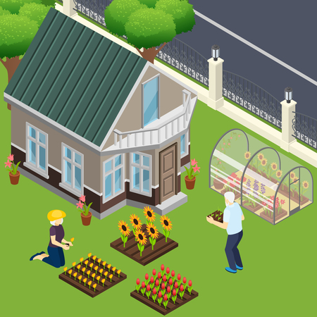 Pensioners near own home during work in garden isometric vector illustration