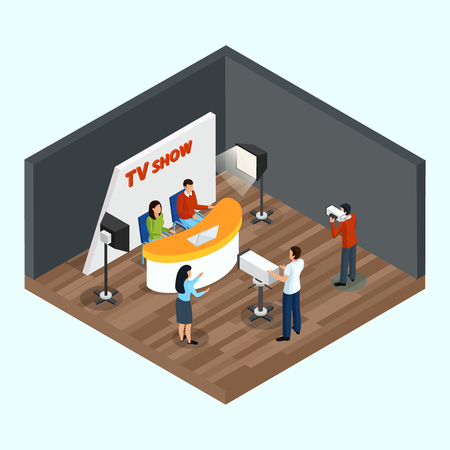Isometric quiz tv show indoor composition with human characters of staff and talking show hosts vector illustration