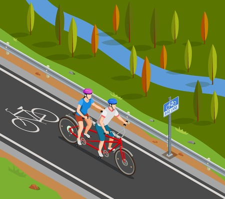 Couple in helmets during bicycle tandem trip on bike track in summer isometric composition vector illustration