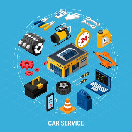 Car service isometric concept with professional help symbols vector illustration Stockfoto - 108101095
