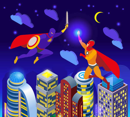 Super heroes during night fight over illuminated sky scrapers isometric composition vector illustration