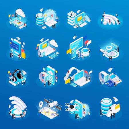 Le icone isometriche di bagliore della tecnologia wireless hanno impostato con l'illustrazione di vettore di monitoraggio della salute a distanza di accesso alla memorizzazione dei dati di cloud