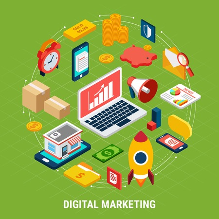 Colorful isometric concept with various digital marketing icons on green background 3d vector illustration