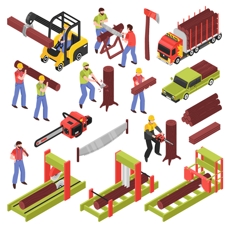 Lumberjack isometric icons set of workers sawing trees and logs with hand saw and  saw frame equipment isolated vector illustration