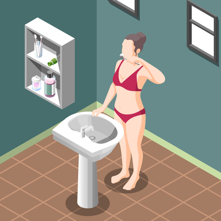 Personal hygiene poster with young woman in underwear cleaning teeth at sink in bathroom interior isometric vector illustration Illustration