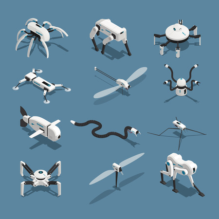 Set of isometric icons bio robots in form of animals isolated on blue background vector illustration Illustration