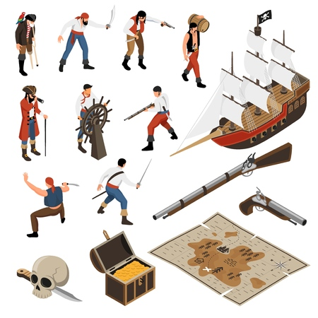 Set of isometric icons armed mariners accessories of pirates sail boat with jolly roger isolated vector illustration