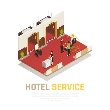 Composition isométrique du service hôtelier avec le concierge et les touristes dans la zone de l'ascenseur avec illustration vectorielle étage rouge