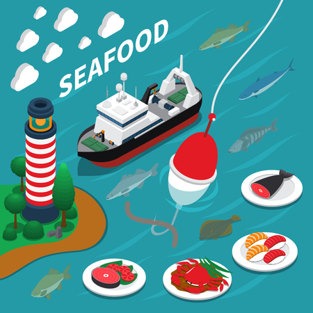 Seafood isometric composition with fishing and lighthouse symbols on blue background vector illustration Illustration