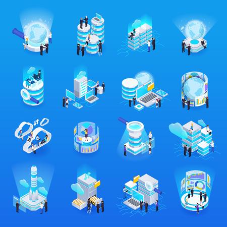 Big data transfer processing analysis storage concept symbols isometric glow icons set blue background isolated vector illustration  イラスト・ベクター素材