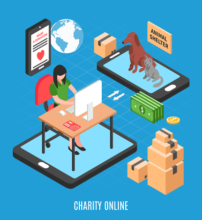 Charity online isometric design concept with call for make donation to animal shelter vector illustration Stock Illustratie