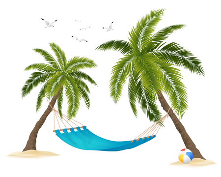 Realistic empty hammock between palm trees and flock of birds in sky on white background vector illustration Illustration