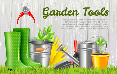 Realistic garden tools and sprout in yellow pot on grey wooden background horizontal vector illustration Illustration