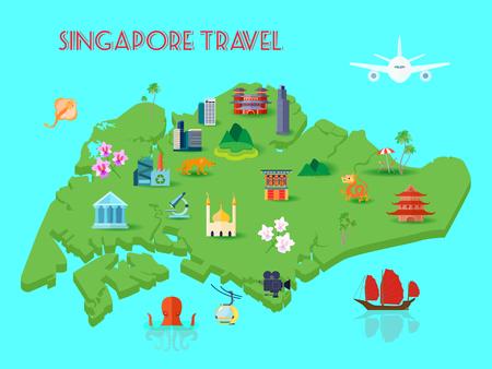 Composizione colorata nella cultura di Singapore con la terraferma in mezzo all'oceano con varie attrazioni