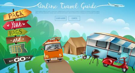 Horizontales Banner des Reisetourismus mit konzeptionellem Hintergrundcampingzelt im Freien und lernen Sie mehr Schaltflächenvektorillustration