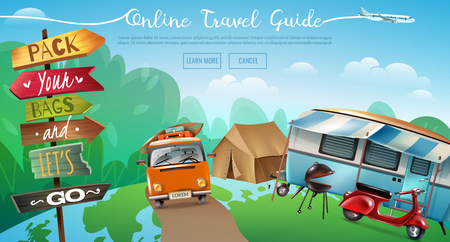Travel tourism horizontal banner with conceptual background outdoor camping camper tent and learn more buttons vector illustration