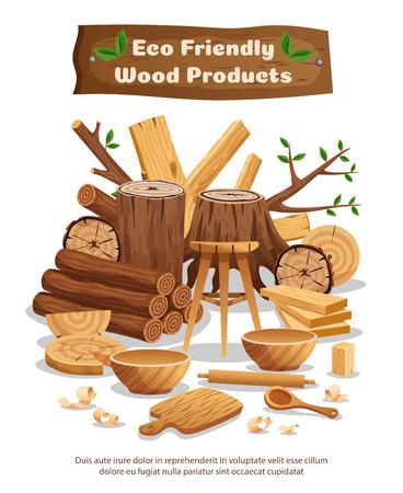 Cartel de composición de publicidad de productos y material ecológico de la industria de la madera con troncos de árboles, tablones, cuencos, cucharas, ilustración vectorial