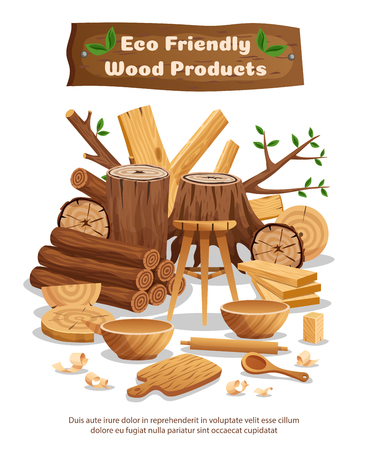 Wood industry eco material and products advertising composition poster with tree trunks planks bowls spoons vector illustration