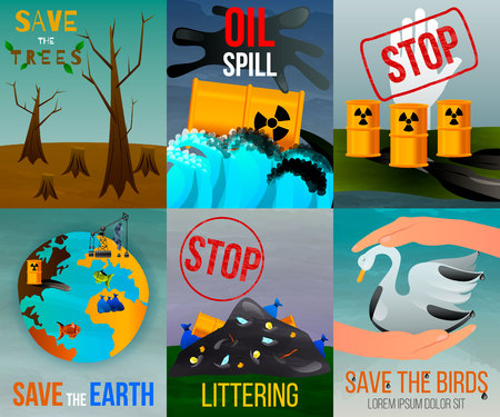 Ecological problems flat vertical cards with saving of earth resources and environmental disasters isolated vector illustration