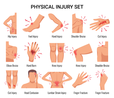 Human body parts physical injury flat set with head contusion elbow bruise open cut wounds vector illustration Illusztráció
