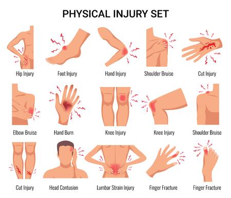 Partes del cuerpo humano conjunto plano de lesiones físicas con contusión en la cabeza hematoma en el codo heridas abiertas ilustración vectorial