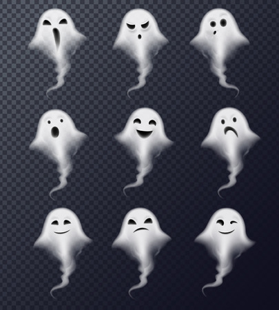 Ghost image of vapor steam smoke realistic spooky emotions icons collection against dark transparent background vector illustration Çizim