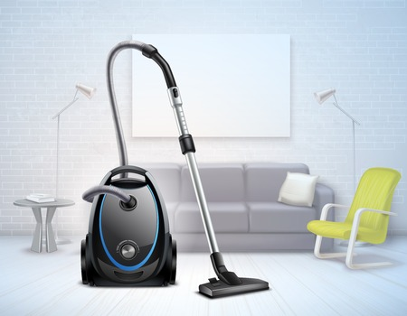 Realistic bright electrical vacuum cleaner with telescopic suction pipe on background of pale modern interior vector illustration