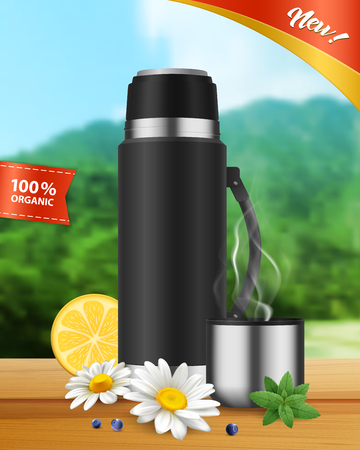 Black realistic insulated vacuum flask with hot organic beverage in stainless lid cup landscape background vector illustration