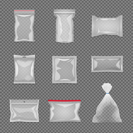 Realistic transparent package set in different shape isolated vector illustration Stock Illustratie