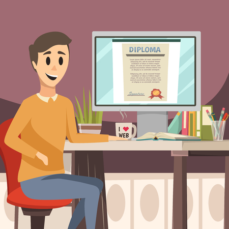 Online education orthogonal background with young man sitting at desk and diploma image on computer screen flat vector illustration
