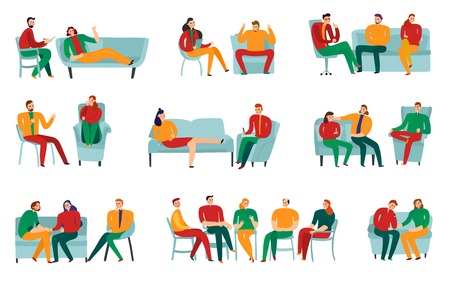 People talking to psychotherapist or psychologist flat icons set isolated on white background vector illustration Illustration