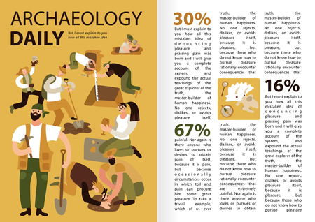 Archaeologists daily work infographic presentation with tasks description  discoveries statistics text funny characters excavation site vector illustration Illustration