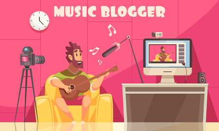 Music blogger composition with indoor domestic scenery and male human character recording himself playing guitar vector illustration