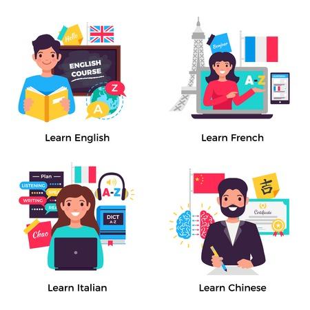 Nauka angielskiego francuskiego włoskiego chińskiego z zaawansowanym szkoleniem w centrum językowym 4 płaskie kompozycje reklamowe na białym tle ilustracji wektorowych