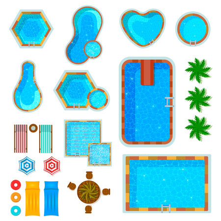 Set of flat icons swimming pools top view with palm trees loungers air mattresses isolated vector illustration