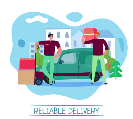 Reliable delivery service concept with transportation symbols flat vector illustration Vetores