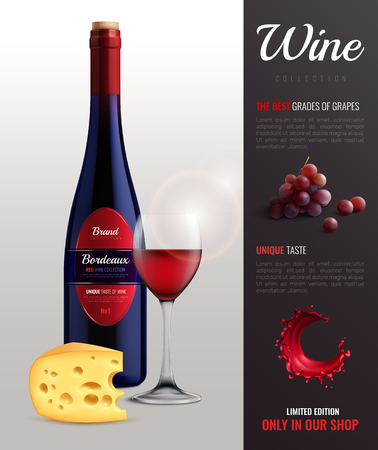Wine realistic poster with grapes unique taste and cheese symbols vector illustration Illustration