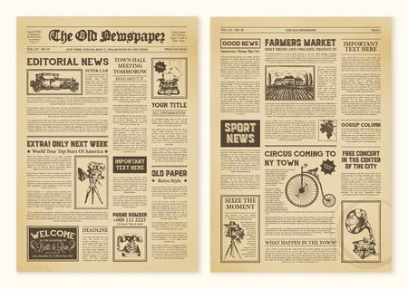 Pagine di giornale realistiche ingiallite in design vintage con intestazioni di illustrazione vettoriale di carattere diverso