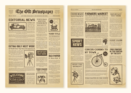 Yellowed realistic newspaper pages in vintage design with headers of different font vector illustration Stock Illustratie