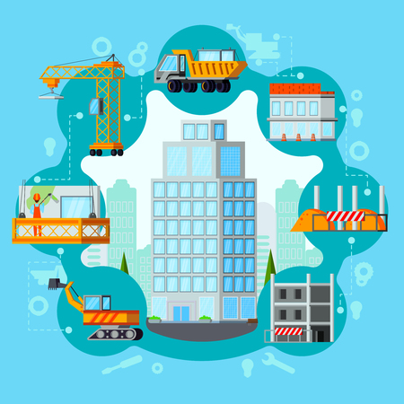 Sky scraper building process from excavation to ready house flat round composition on blue background vector illustration