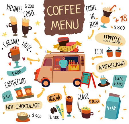 Coffee food trucks concept with americano and espresso symbols flat isolated vector illustration