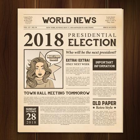 Periódico página 2018 elecciones presidenciales mundo artículo de noticias estilo vintage realista sobre fondo de madera oscura ilustración vectorial