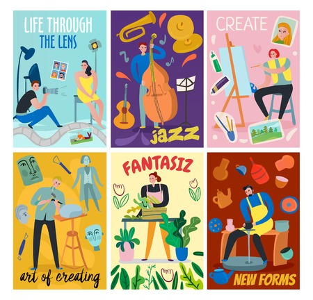Colorful flat cards set with such creative workers as sculptor florist artist musician photographer isolated vector illustration